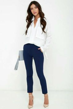 46 Stylish Navy Pants Work Outfit to Try Summer Business Casual Outfits, Summer Work Outfits, Casual Work Outfits, Office Outfits, Work Attire, Work Casual, Cute Outfits, Navy Outfits, Dress Casual