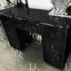 Black Mirror Crush 7 Drawer Dressing Table - Mirrored furniture - Sparkle Diamond - House of Sparkles Black Bedroom Furniture, Furniture Layout, Home Decor Furniture, Cheap Furniture, Rustic Furniture, Furniture Makeover, Diy Home Decor, Furniture Design, Furniture Stores