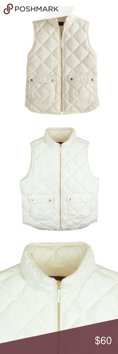 "JCREW Ivory Goose Down Quilted Excursion Vest Excellent condition. I don't think this was worn if at all. This ivory goose down excursion vest from JCREW features a zip up closure and front pockets. Filled with goose down. Measures: bust: 43"", total length: 23"" J. Crew Jackets & Coats Vests"