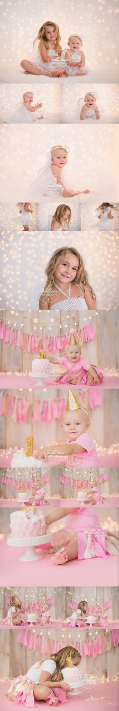 pink-and-gold-first-birthday-cakesmash-and-sister-portraits-with-white-holiday-lights