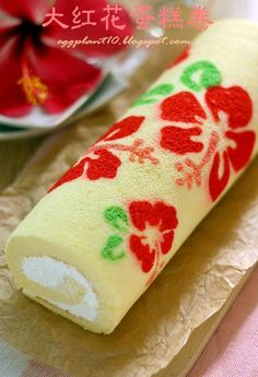 Eggplant - hibiscus floral decorated swiss roll
