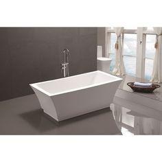 Vanity Art 59-inch Freestanding Acrylic Soaking Bathtub - Free Shipping Today - Overstock.com - 19190637 - Mobile