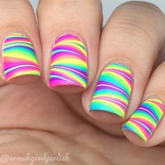 Browse & see more Water marble nail art designs 2016 Rainbow Nails, Neon Nails, Diy Nails, Neon Nail Art, Neon Rainbow, Color Nails, Water Marble Nails, Marble Nail Art, Pretty Nail Designs