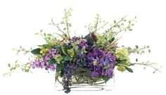Natural Decorations, Inc. - Hydrangea Orchid Purple Green Glass Rectangle