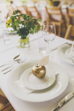 Creative Pom Pom Outdoor Wedding Gold Apple Place Setting Name http://www.milliebenbowphotography.com/