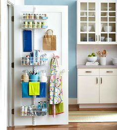 Store kitchen supplies on the inside of a pantry door by using an adjustable shelf strip