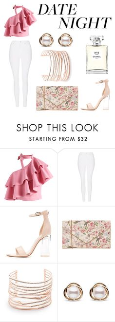 """""""Summer Date Night"""" by amakaflocka ❤ liked on Polyvore featuring Chicwish, Topshop, Charlotte Russe, Oasis, Alexis Bittar, Trilogy, Chanel, white, Pink and flirty"""