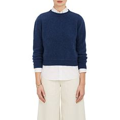 The Elder Statesman Women's Cashmere Crop Sweater ($685) ❤ liked on Polyvore featuring tops, sweaters, blue, cashmere sweater, cropped crew neck sweater, blue top, j.crew cashmere sweaters and blue crop top