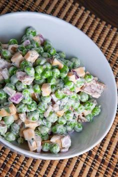 fresh pea salad:  This was really good.  We actually turned it into a pasta salad, and it was great!