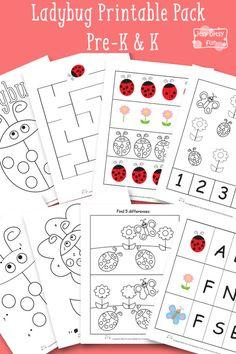 Ladybug Printable Preschool and Kindergarten Pack - Itsy Bitsy Fun Free Preschool, Preschool Printables, Preschool Classroom, Kindergarten Worksheets, Printable Worksheets, In Kindergarten, Preschool Themes, Free Printable, Ben Y Holly