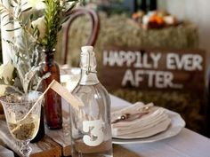 10 Fun Ways to Decorate With Mason Jars and Wine Bottles: Vintage-style flip-top bottles are easy to decorate and add charm to any table setting. Fill them with spring water, wine or juice to allow guests to serve themselves at a dinner party, brunch or wedding reception. Design by Camille Styles From DIYnetwork.com