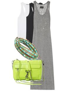 Zadig & Voltaire Jossy crystal-embellished knitted maxi dress | T by Alexander Wang Classic Tank | Rebecca Minkoff MINI MAC Clutch | Chan Luu Turquoise Mix On Leather Bracelet