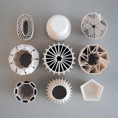Using RepRap 3-D printers. Various pottery pieces by Unfold.