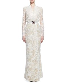Alexander McQueen Lace Gown W/Embellished Belt, Ivory/Flesh