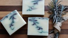 Homemade Soap - Reverse Feather Swirl - Lavender Mint Natural Soap