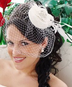 Petite Wedding Hat - Bridal Hat with Feathers and Crystals Bridal Hats A stunning alternative to a traditional veil, this bridal hat with birdcage Wedding Headpiece Vintage, Wedding Hats, Gifts For Wedding Party, Wedding Veils, Vintage Bridal, Wedding Ideas, Wedding Stuff, Vintage Birdcage, Dream Wedding