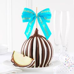Happy Birthday Ribbon Jumbo Caramel Apple Gift! Hmmm. What to get that special someone for their birthday? How about a gourmet triple chocolate caramel apple! After all, everyone loves caramel, chocolate apples. #caramel #apple #chocolate #ribbon #beautiful #oneofakind
