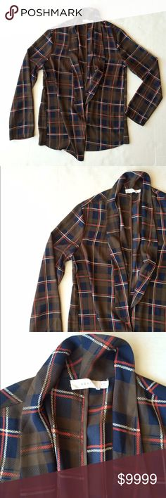 Lush plaid semi sheer blazer style outerwear Condition: Preowned, no holes or stains. No signs of wear.  Color: plaid, olive green, blue, orange  Measurements: Size small Underarm to underarm is approximately  18 inches across- measured on back due to open front. Length from back of neck to bottom of hem is approximately  23 1/2 inches.   Materials: see photo of tag Lush Jackets & Coats Blazers