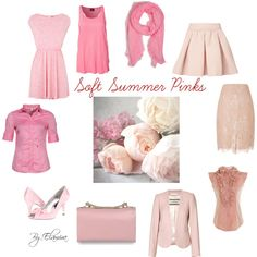 Soft Summer pinks by sabira-amira Soft Summer Color Palette, Summer Colors, Seasonal Color Analysis, Color Me Beautiful, Soft Autumn, Zooey Deschanel, Soft Classic, Fashion Colours, Season Colors