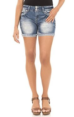 0f3a91f26ac Amazon.com  WallFlower Midthigh Curvy Bling Short in Laura Size 0  Clothing.  Clear Reagan · Women Shorts