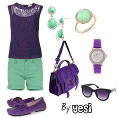 Purple, Mint Outfit
