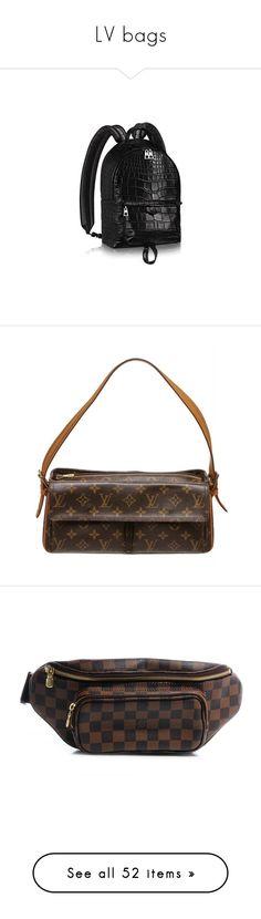 """LV bags"" by neua ❤ liked on Polyvore featuring bags, backpacks, urban bag, daypack bag, crocodile backpack, palm tree backpack, croc embossed bag, brown, handbags and genuine leather handbags"