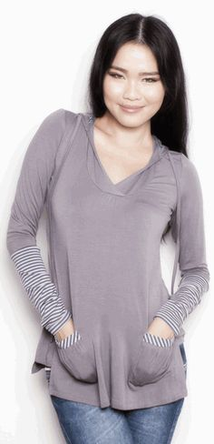 Hoodie that can be worn during pregnancy and after for easy breastfeeding