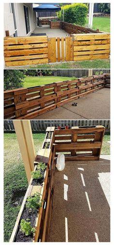 Diy Fence, Backyard Fences, Garden Fencing, Fence Ideas, Backyard Ideas, Fence Art, Patio Fence, Pallet Ideas In Garden, Landscaping Ideas