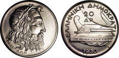 'Greek Drachma' 1930. Silver. Poseidon and Greek Galley.