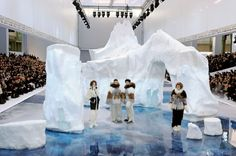 "chanel show fall ""10 where karl lagerfeld had an iceberg shipped from iceland to be the perfect runway."