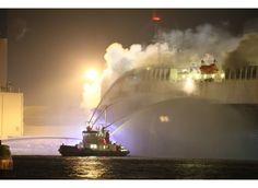 Zware brand op vrachtschip met tweedehandse auto's (Antwerpen) - Gazet van Antwerpen