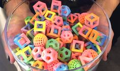 Various geometrical and multi-flavoured sugar cubes made with ChefJet 3D food printer.