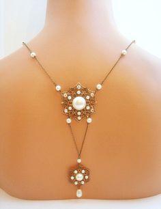 Bridal back drop necklace wedding necklace vintage by treasures570, $105.00