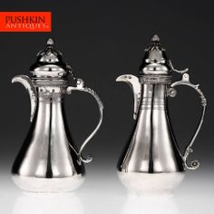 ANTIQUE 19thC OTTOMAN EMPIRE SOLID SILVER PAIR OF COFFEE POTS, EGYPT c.1890