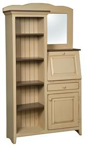 Amish Pine Side by Side Secretary Desk and Bookcase