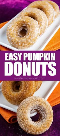 Easy Baked Pumpkin Donuts that can be topped with cinnamon and sugar or an old fashion glaze. #donuts #doughnuts #pumpkin #fall #baking #lftorecipes Quick Dessert Recipes, Easy Homemade Recipes, Homemade Donuts, Snack Recipes, Oven Recipes, Dessert Ideas, Breakfast Recipes, Easy Donut Recipe, Donut Recipes