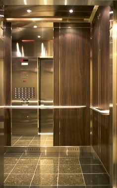 The is one of Premier's designer series: quarter inch stainless steel… Stair Elevator, Elevator Design, Elevator Lobby, Lift Design, Cabin Design, Door Design, Wall Design, Steel Cladding, Timber Battens