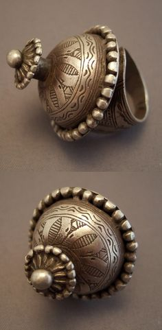 Ring dome shaped from Rajasthan India. India Jewelry, Tribal Jewelry, Silver Jewelry, Vintage Jewelry, Bijoux Design, Jewelry Design, Jewelry Rings, Jewelery, Antique Rings