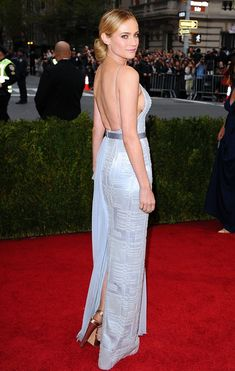 Ethereal: The actress, 37, looked stunning in a shimmering powder blue gown earlier in the evening for the Met Gala