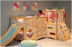 Here are 30 Kids Bedroom Ideas with Girls and Boys Bunk Beds. Kids bedroom design with bunk beds, cool i. Bunk Bed With Slide, Bunk Beds With Stairs, Bed Slide, Toddler Bed With Slide, Slide Slide, Play Beds, Kids Bunk Beds, Dream Bedroom, Girls Bedroom