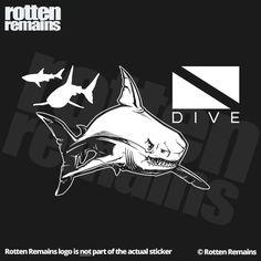 "Shark Dive Decal 5"" Scuba Diver Diving White Print Clear Vinyl Sticker http://www.deepbluediving.org/suunto-d4i-novo/"