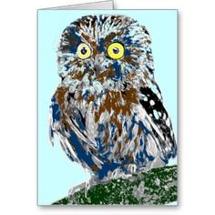 Painted owl cards...angry eyes