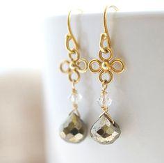Pyrite Earrings Delicate Earrings Small Earrings by Jewels2Luv, $29.75