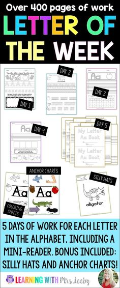 Whether you do a letter per week or a letter per day, this resource has everything you need for the entire school year! 5 activities for each letter, plus anchor charts and silly hats.