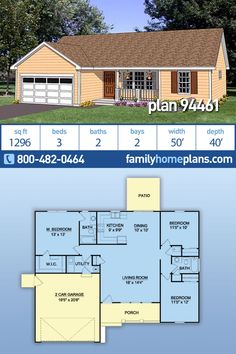 Affordable Home Plan – Simple House Floor Plan in a Basic Ranch Design, 3 Bed, 2 Bath Floor Plan A popular basic ranch house floor. Garage House Plans, Family House Plans, Ranch House Plans, New House Plans, Dream House Plans, Small House Plans, House Floor Plans, Car Garage, Three Bedroom House Plan