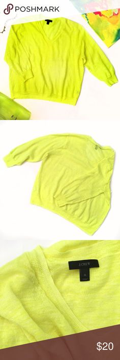 J. Crew Neon Yellow 3/4 Sleeve Top Great condition! 55% Linen, 45% Polyester. I cut out one of the inside tags on the bottom, the other tag inside is in tack. 👌🏻 J. Crew Tops
