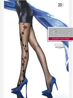 ROGERIA Tights Hosiery nylons 20 den Black NWT NEW Fiore Patterned floral sheer #Fiore #Tights