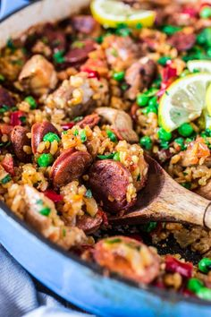 A Chicken and Chorizo Paella might sound like a very ambitious project, but once you realize how easy and quick it is, you will be making it often. Chicken And Chorizo Paella Recipe, Chicken Paella, Chorizo Recipes, Chicken Recipes, Rice Recipes, Healthy Crockpot Recipes, Cooking Recipes, Healthy Dinners, Paleo Recipes