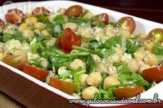 Receita de Salada de Grão-de-bico com Rúcula Vegetarian Recipes, Cooking Recipes, Healthy Recipes, Menu Dieta, Good Food, Yummy Food, Portuguese Recipes, Food Inspiration, Salad Recipes