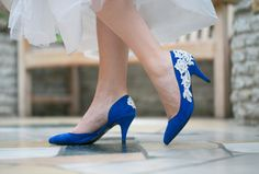 Would be so easy to applique some lace onto pre-existing shoes (especially my wedding shoes that I never wear--dye them and lace them). Bridal Shoes   Cobalt Blue Wedding Shoes Wedding by walkinonair